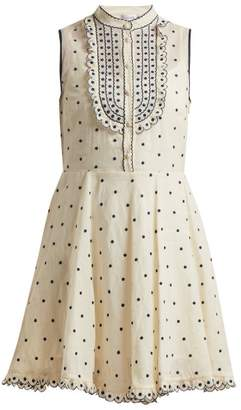 RED Valentino Polka Dot Scallop Edged Cotton Dress - Womens - Blue White
