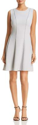 Donna Karan Sleeveless Stud Detail Fit-and-Flare Dress
