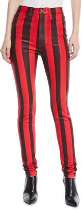 Tre By Natalie Ratabesi High-Waist Striped Skinny Coated Denim Pants