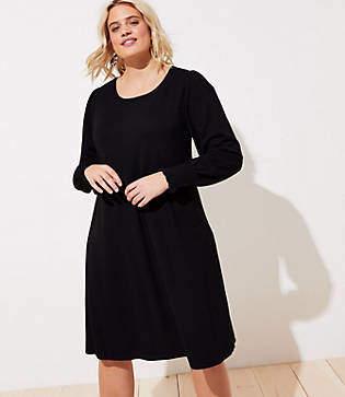 LOFT Plus Cozy Smocked Cuff Dress