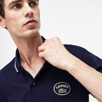 Lacoste Men's Slim Fit Striped Accents Petit Pique Polo