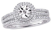 Concerto 10K White Gold and 0.37 TCW Diamond Halo Bridal Ring