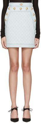Balmain Blue Denim Gold Buttons Miniskirt $1,325 thestylecure.com