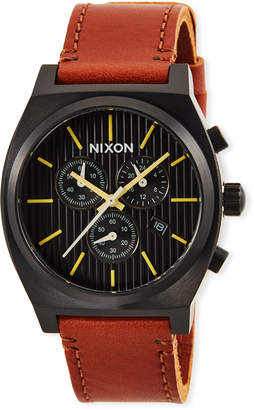 Nixon 39mm Time Teller Chrono Leather Watch, Brown