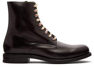Gucci Lace Up Leather Boots - Mens - Black