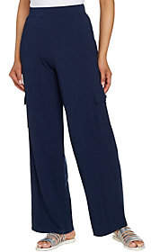 Denim & Co. Beach Petite Pull-On Wide Leg KnitCargo Pants