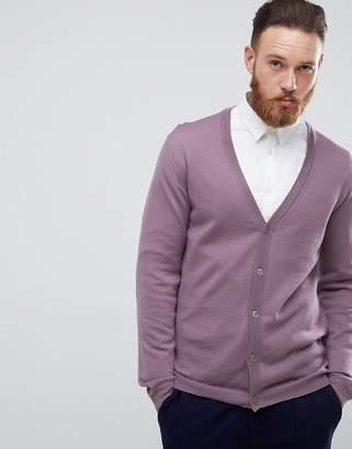 Asos DESIGN Merino Wool Cardigan In Lilac