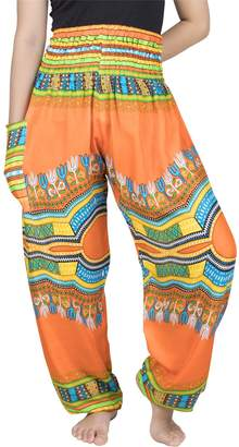 Lofbaz Women's Colourful 2 Smocked Waist Harem Pants Cool Size S