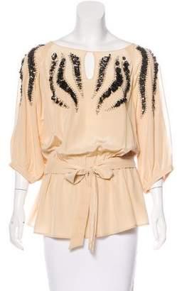 Yoana Baraschi Embellished Silk Top