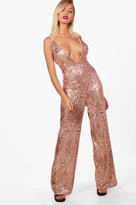 boohoo Sequin Plunge Wide Leg Jumpsuit