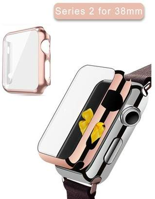 Nike Apple Watch Series 2 Case 38mm,iClover Full Cover Apple Watch Series 2 Case Slim Hard PC Plated Protective Bumper Cover & 0.2mm Shockproof Screen Protector for iWatch 2016, Rose Gold
