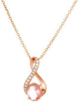 Lord & Taylor Morganite and Sterling Silver Pendant Necklace