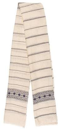 Tory Burch Embroidered Raw-Edge Scarf