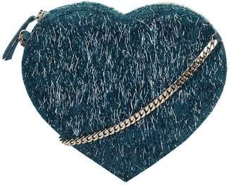 Anniel Heart Green Furry Fabric Bag