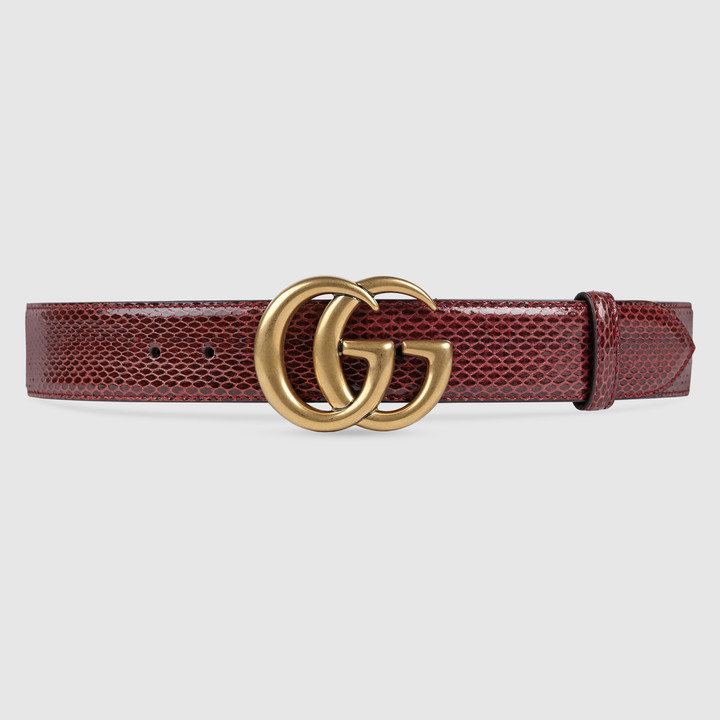 Leather belt with double G buckle 20