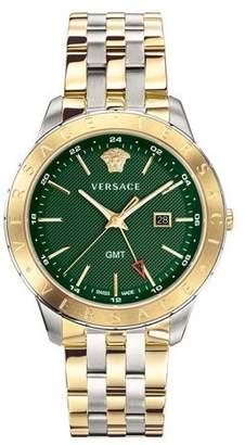Versace Men's Univers 43mm Watch w/ Bracelet Strap, Two-Tone/Green