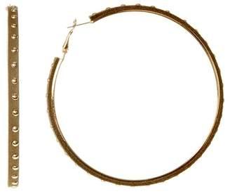Natasha Accessories Faux Suede Studded 80mm Hoop Earrings