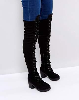 c51d7aef76d Truffle Collection Chunky Heel Over Knee Boots