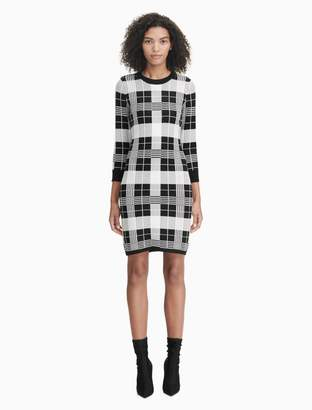 Calvin Klein plaid 3/4 sleeve sweater dress