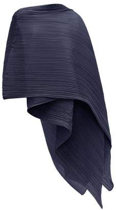 Pleats Please Issey Miyake Madame T Pleated Scarf - Womens - Navy