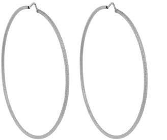 Carolina Bucci Large Florentine Finish Fine Hoop Earrings - White Gold
