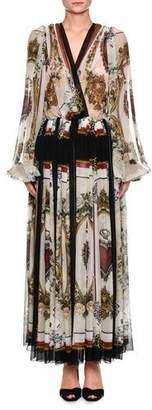 Dolce & Gabbana Long-Sleeve V-Neck Playing Card-Print Chiffon Gown