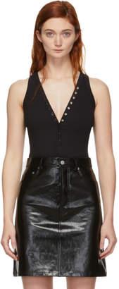 Alexander Wang Black Compact Jersey Snaps Bodysuit