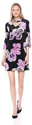 Julian Taylor Women's Floral Printed 3/4 Rouched Sleeve Gigi Neckline Dress