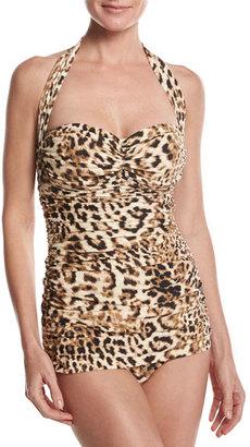 Norma Kamali Bill Mio Halter One-Piece Swimsuit, Leopard $225 thestylecure.com
