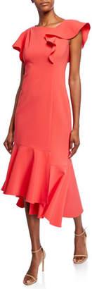 Shoshanna Sula Short-Sleeve Asymmetric Scuba Dress with Ruffle Details
