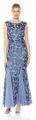 Alex Evenings Women's Embroidered Dress Illusion Neckline