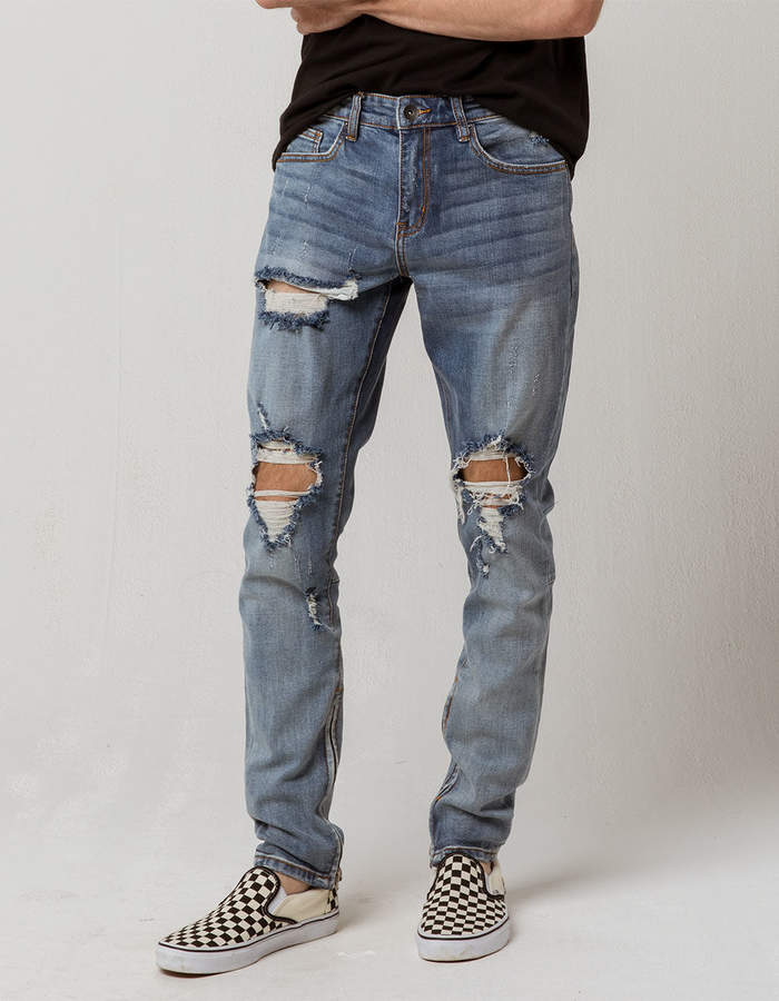 Crysp Denim CRYSP Denim Pacific Blue Ripped Mens Skinny Jeans
