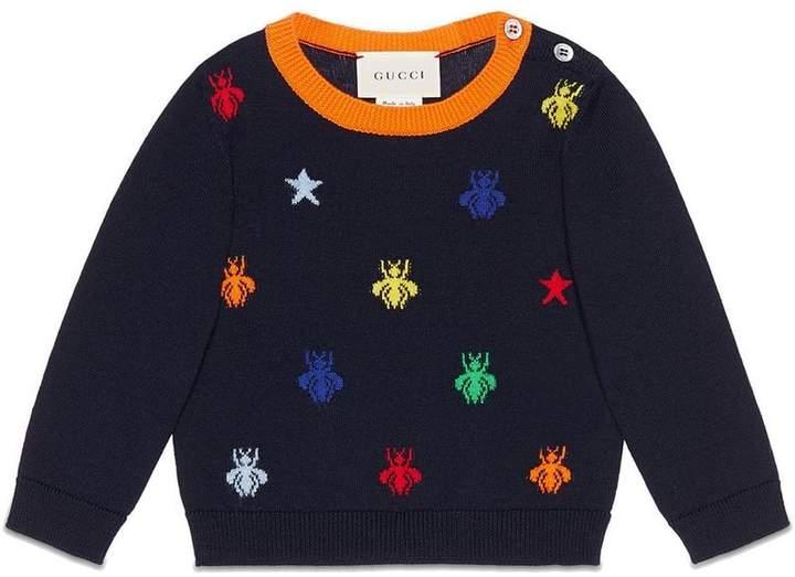 Gucci Kids Baby bees and stars jacquard merino sweater