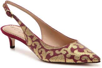Sam Edelman Ludlow Pump -Burgundy/Gold Metallic Fabric Print - Women's