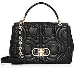 Salvatore Ferragamo Women's Gancini Quilted Leather Top Handle Bag