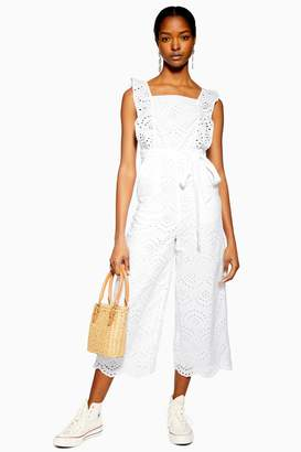 Topshop Womens Broderie Jumpsuit - Ivory