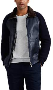 Brunello Cucinelli MEN'S SHEARLING & CASHMERE BOMBER JACKET - NAVY SIZE XXL