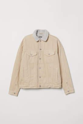 H&M Pile-lined Denim Jacket - Beige