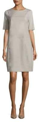 Peserico Cotton Contrast-Stitch Shift Dress