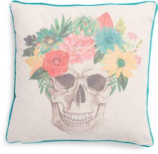 20x20 Faux Linen Botanical Skull Pillow