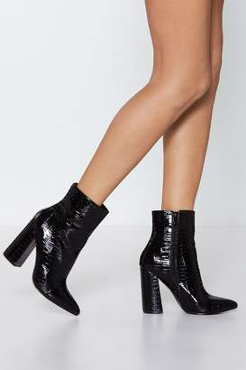 Nasty Gal Croc Out Faux Leather Ankle Boot
