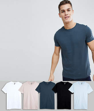 Asos DESIGN T-Shirt With Crew Neck 5 Pack Save