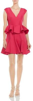 Halston Ruffled Peplum Dress