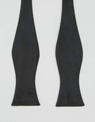 Asos DESIGN self wedding tie bow wedding tie in black