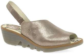 Fly London Gold Leather 'Palp' Mid Heeled Wedge Sandals
