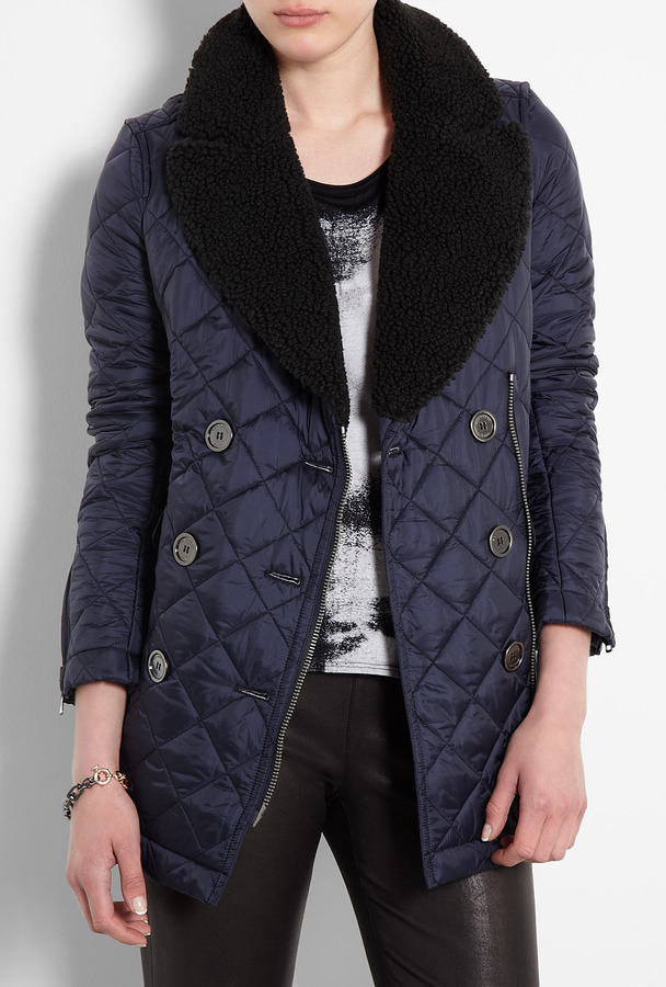 Burberry Brit Shearling Collar Quilted Pea Coat