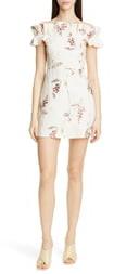 Rebecca Taylor Ivie Off the Shoulder Embroidered Detail Linen Dress