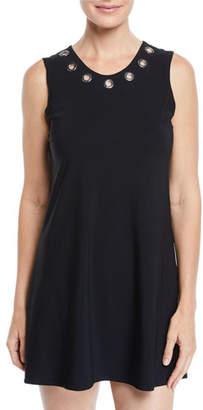 Karla Colletto Viviana Scoop-Neck Coverup Dress with Grommet Trim