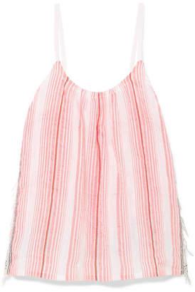 Lemlem Tereza Fringed Striped Cotton-blend Gauze Top - Pink