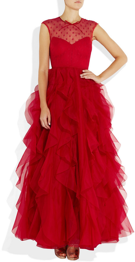 Valentino Lace and ruffled silk-organza gown